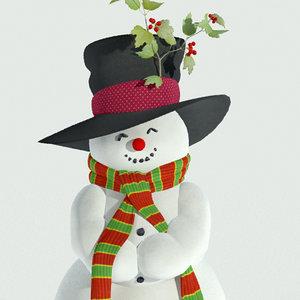 funny snowman snow 3d model