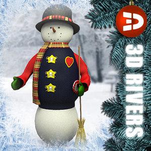 cute snowman christmas snow 3d model
