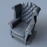 3d model old antique easy chair