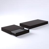 3d set bench tables model