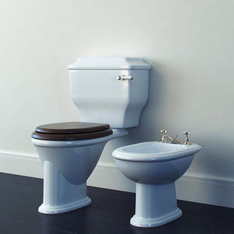 toilet bowl bidet devon 3d model