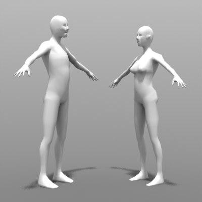 3ds male female figure templates