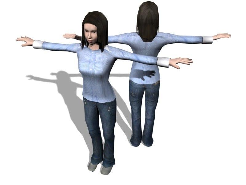 3d woman human characters model