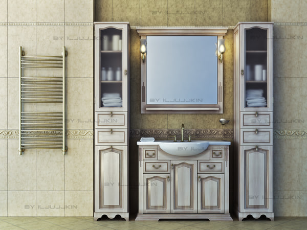 set classical furniture bathroom 3d max