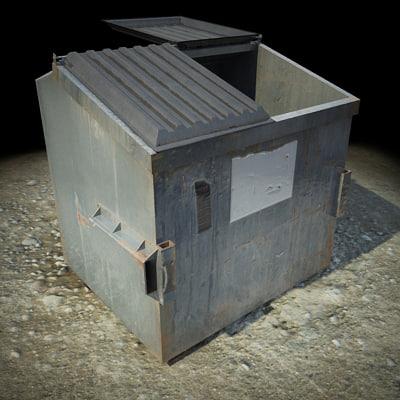 3d model garbage dumpster studios