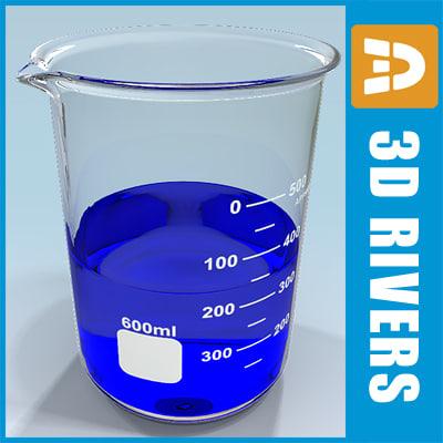 glass beaker 3d 3ds