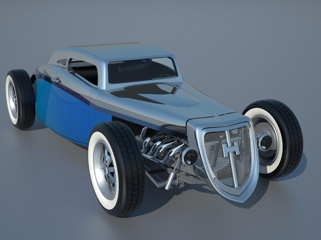 free hot rod inspired chevrolet 3d model