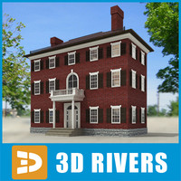 small town house building 3d model