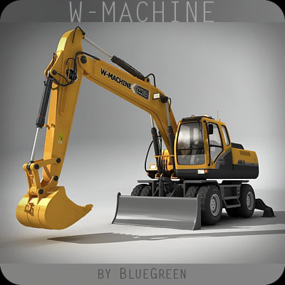 wheel excavator 3d max