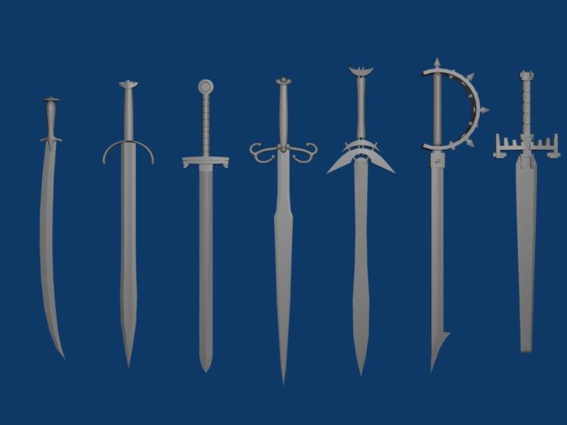 3d model seven sword set