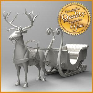 3d model raindeer sleigh