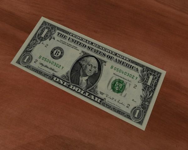 free dollar bill 3d model