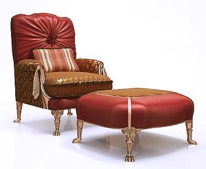 classical armchair ottoman 3d model