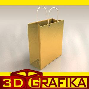 gift bag golden christmas 3d model