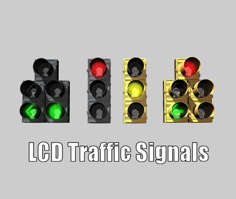 lcd traffic signals 3d c4d