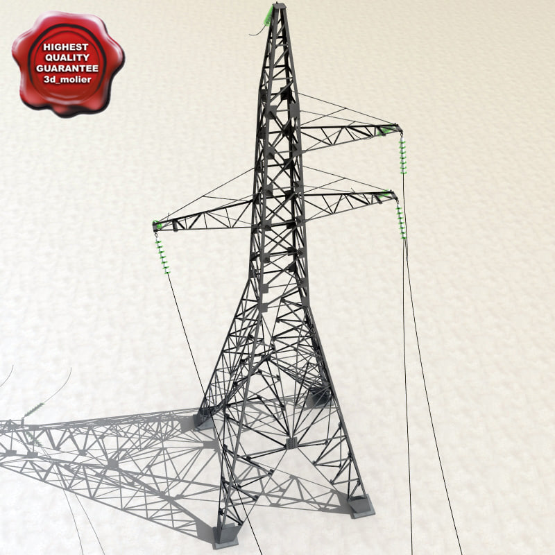 power line 3d obj