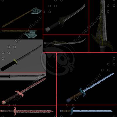 medieval weapons swords 3d model