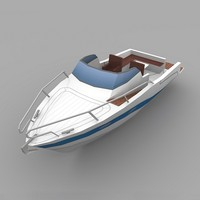 3d low-poly motor boat model