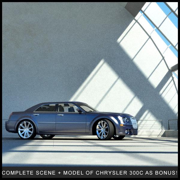 scene cars studio environment 3d model