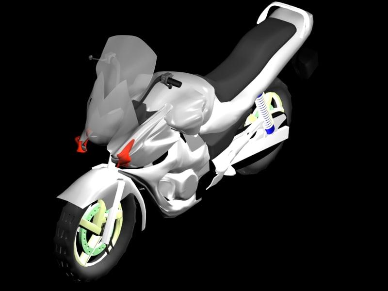 sports bike white 3d max