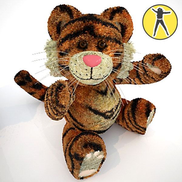 cute plush tiger toy 3d model