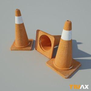 3d studio traffic cone
