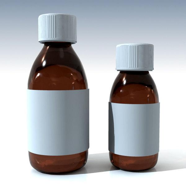3d glass syrup bottles model