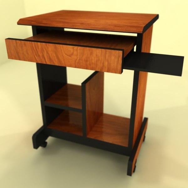 3d office computer desk table model