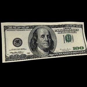 100 bill 3d model