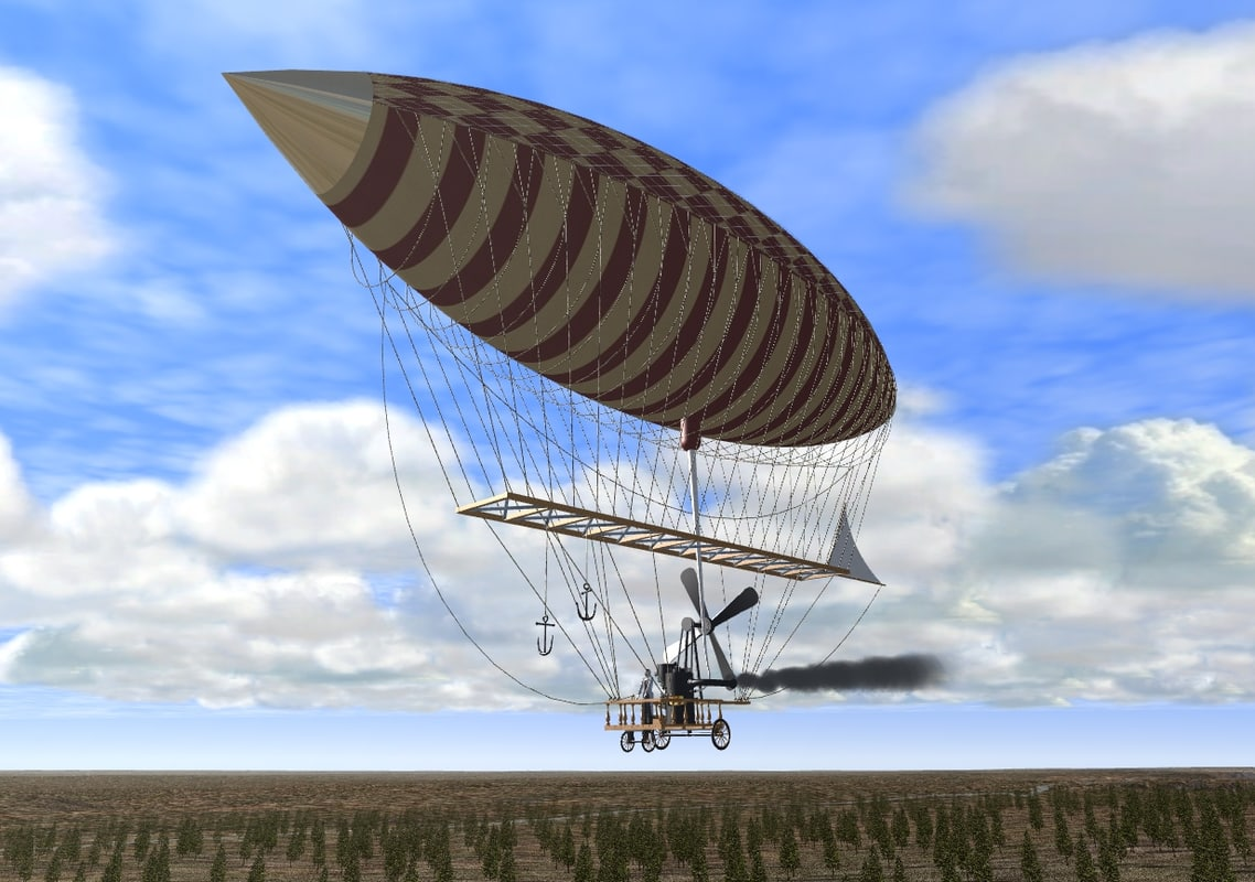 airship balloon dirigible 3d model