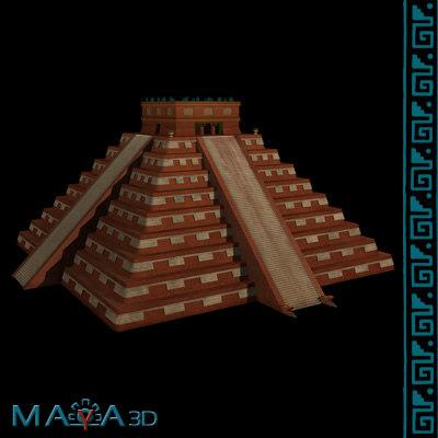 3d pyramid el castillo chichen itza model