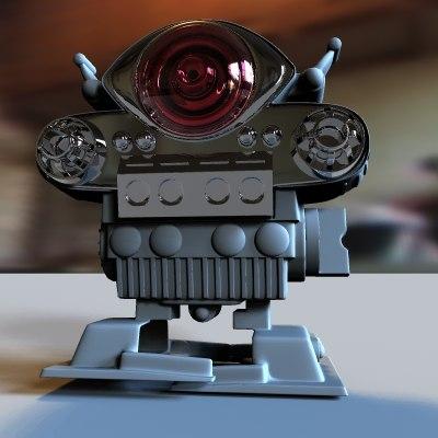 3d model of retro toy robot