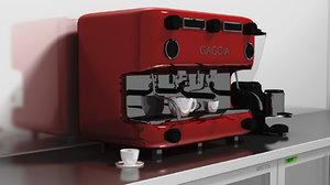 3d italian coffee machine grinder