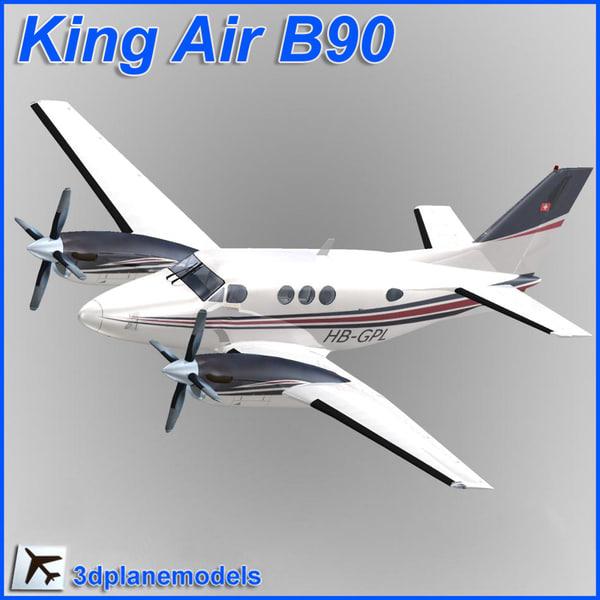 beechcraft c90 king air 3d model