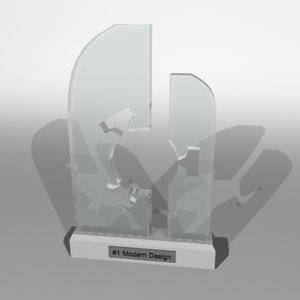 3d glass trophy modern model