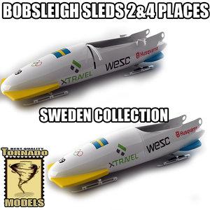 bobsleigh sled - sweden 3d max