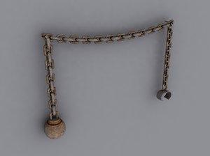 3d model iron ball chain