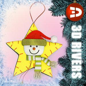 snowman decoration christmas tree 3d model