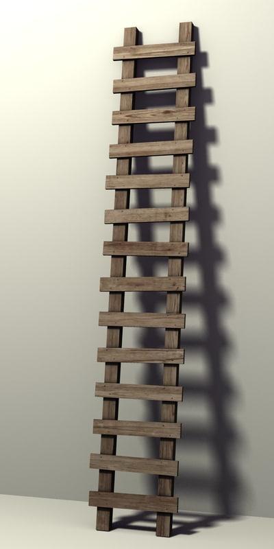 wood ladder 3d model