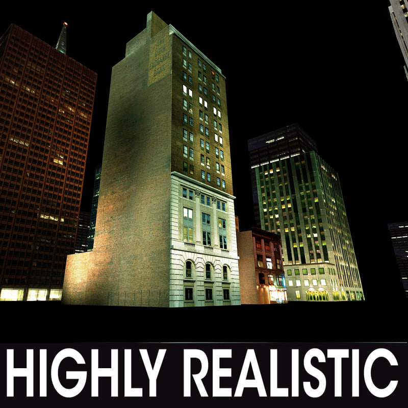 3d night buildings