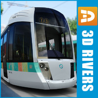3d contemporary paris tram tramways
