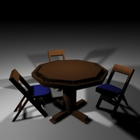 poker table chairs 3d model
