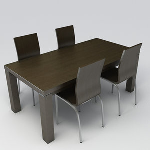 3ds max wenge table chairs