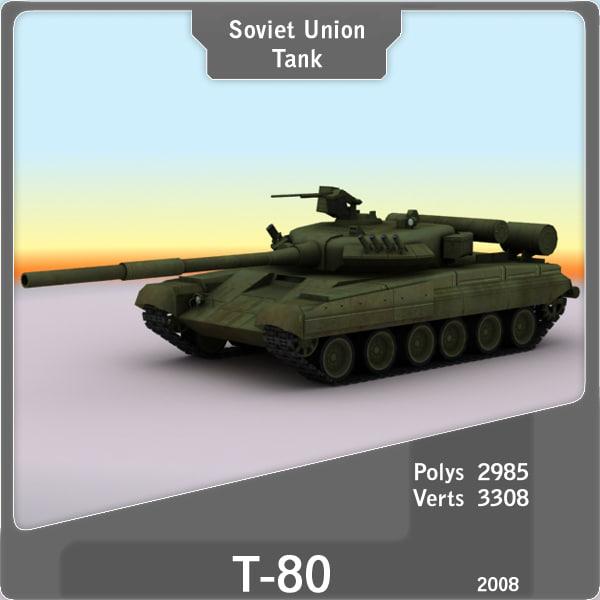 3d model t-80 russian tank