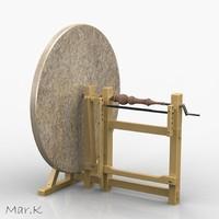 3d wood-turning lathe model
