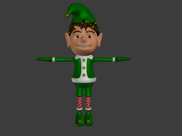 character christmas elf 3d model