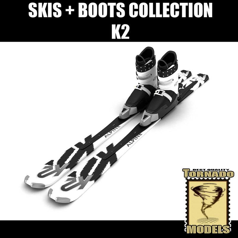 alpine k2 skis boots 3d 3ds