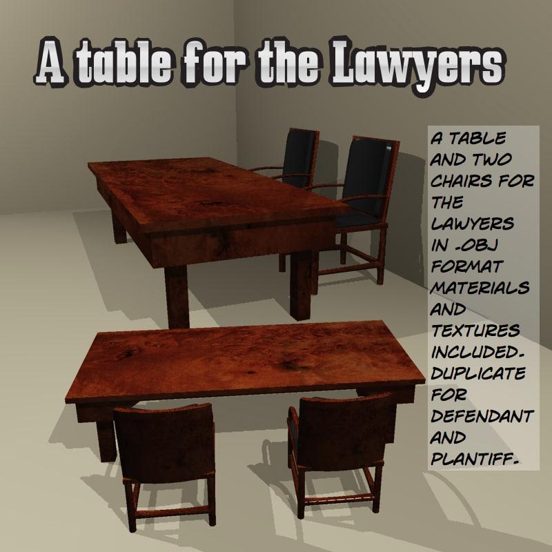 lawyer table 3d obj