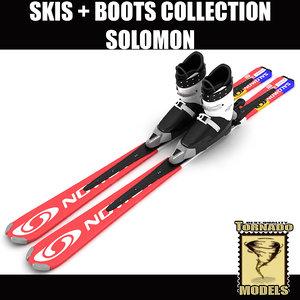 alpine solomon skis boots 3d model