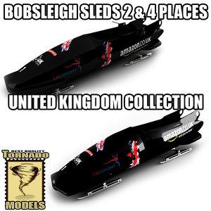 3d model bobsleigh sled - uk